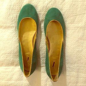 Jcrew Emerald Suede Flats